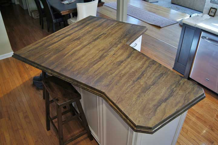 Acid Stained Concrete Island Top With 2 Inch Thick Ogee Edge Design · White  Kitchen Countertop Stonehenge Countertop