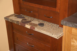 river rock concrete top on a hutch